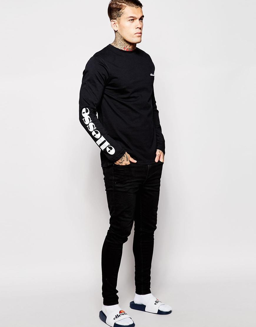 Ellesse long sleeve t shirt with sleeve print in black for for Long sleeve printed t shirts