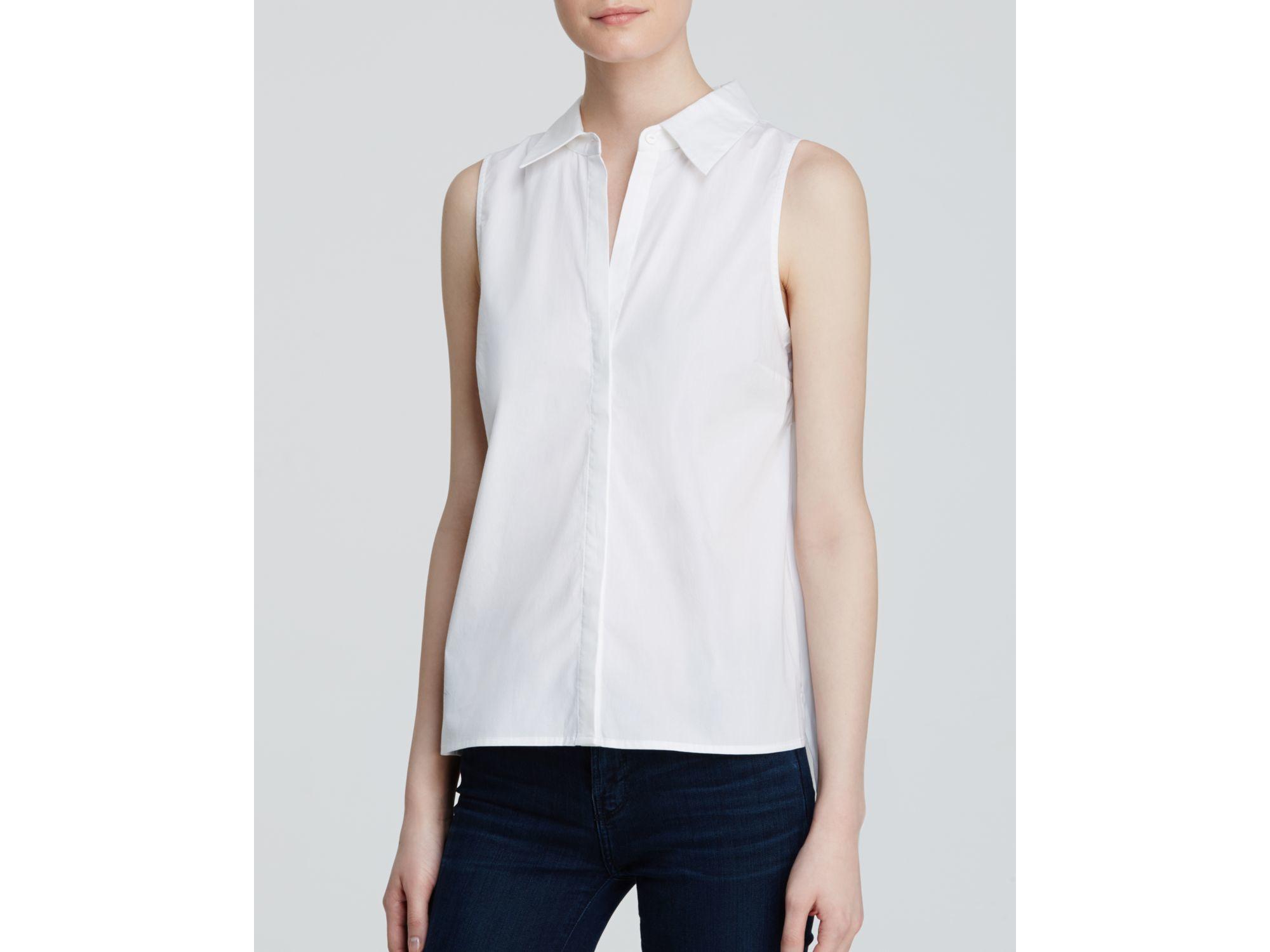 Lyst aqua shirt sleeveless button down in white for Sleeveless cotton button down shirts