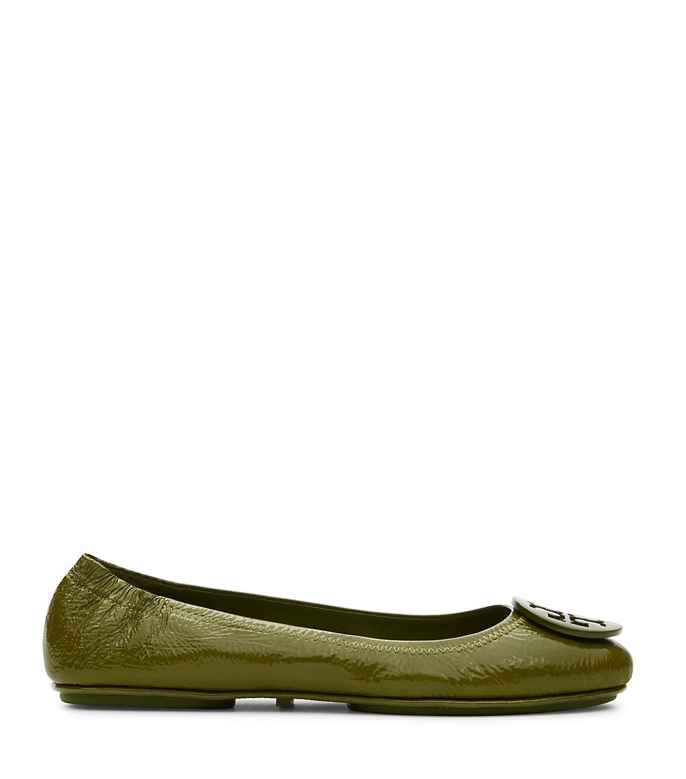 Tory Burch Logo Minnie Travel Ballet Flat Patent In Green  Lyst