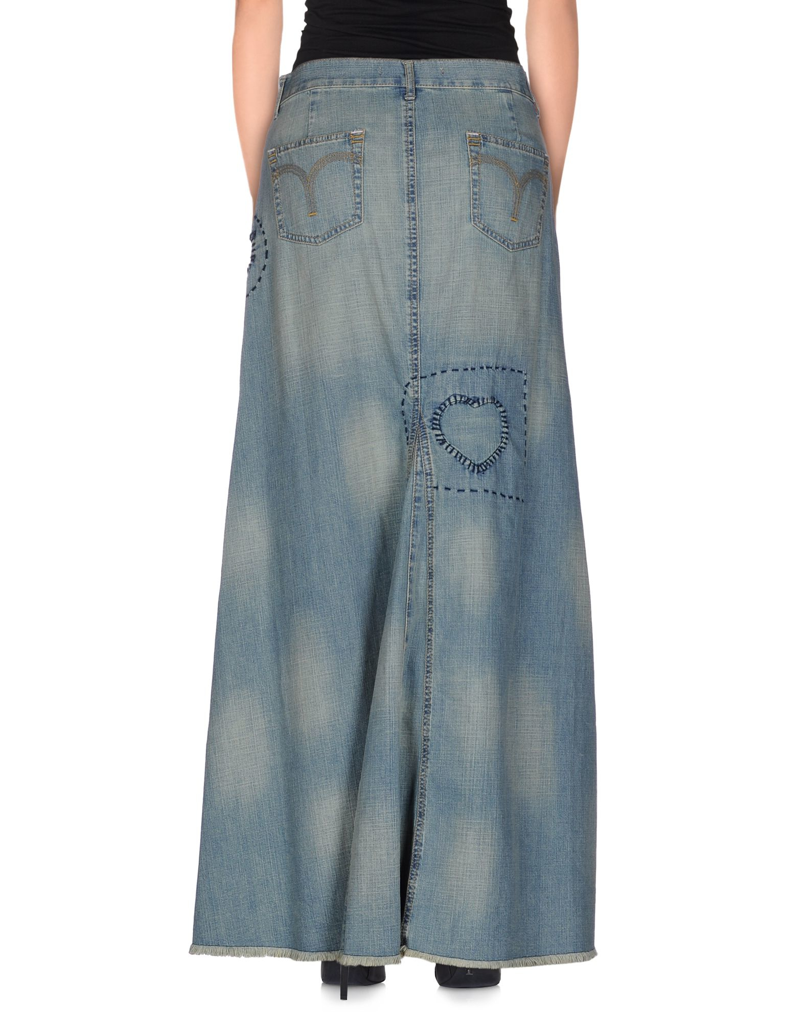 set denim skirt in blue lyst