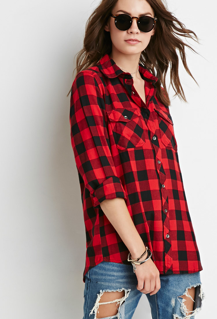 Lyst forever 21 buffalo plaid shirt in red for Red buffalo flannel shirt