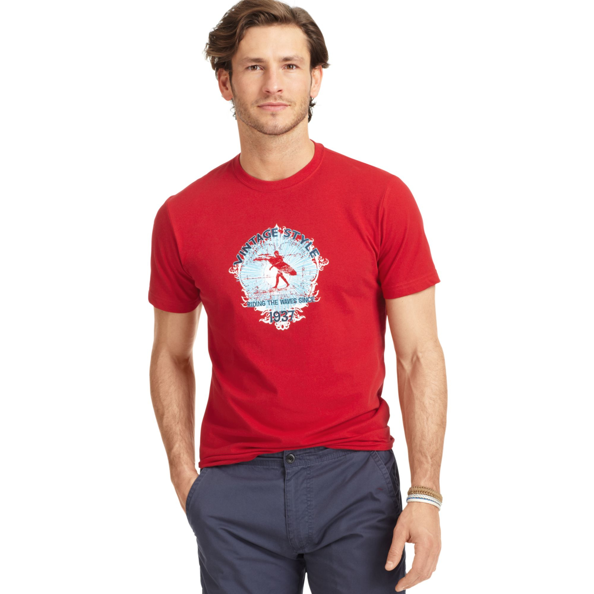 Izod big and tall vintage surf style graphic print t shirt for Big and tall printed t shirts