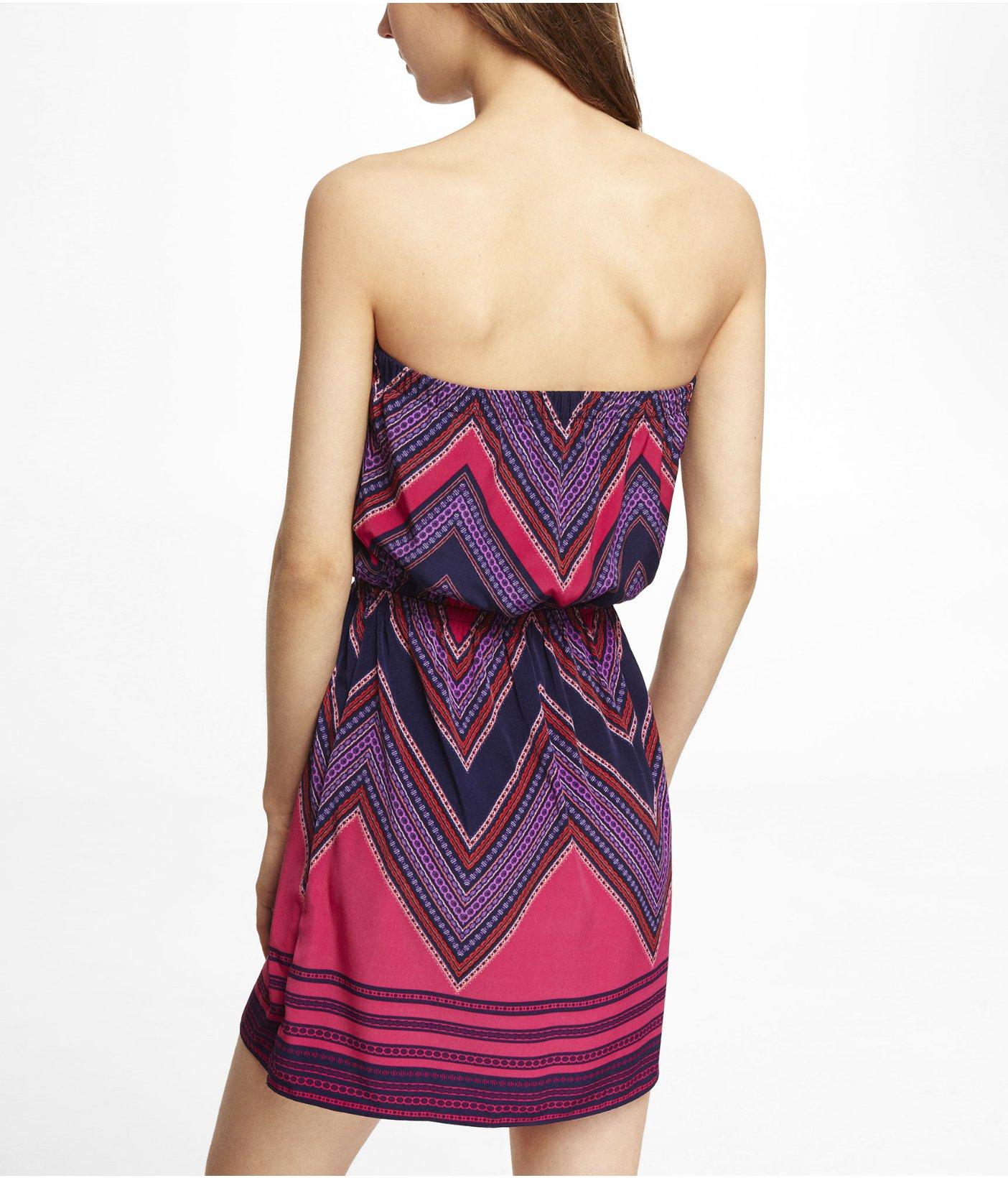 Lyst - Express Purple Scarf Print Tube Dress in Purple
