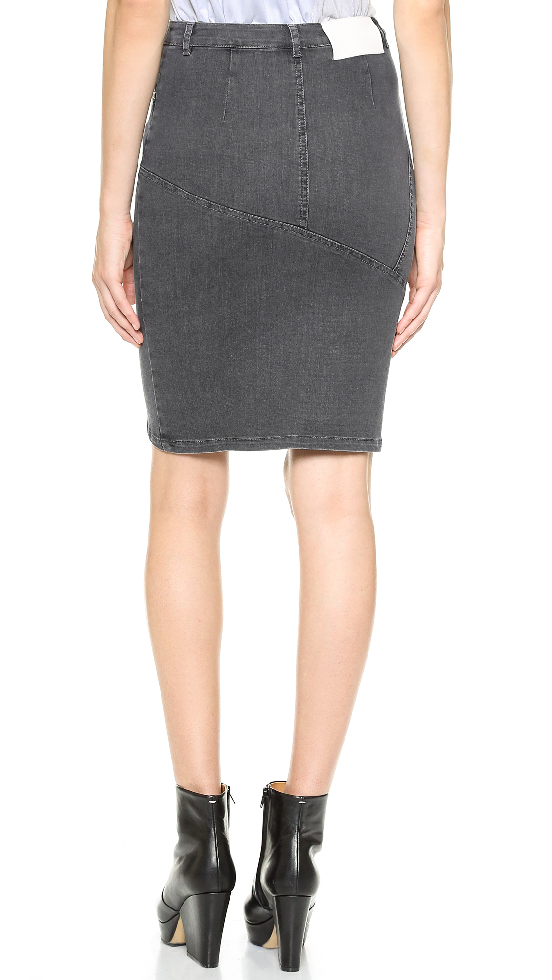 Tess giberson Pieced Denim Skirt - Grey Denim in Gray | Lyst