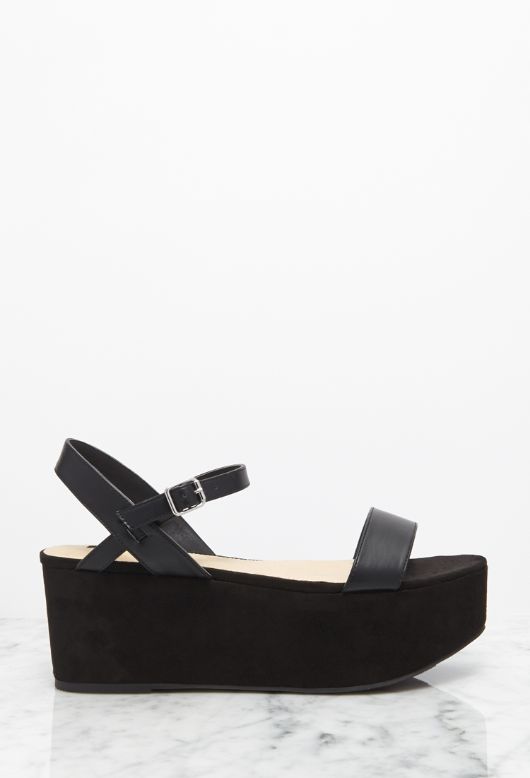 Forever 21 Faux Suede Flatform Sandals in Black - Lyst 9836a71f5e