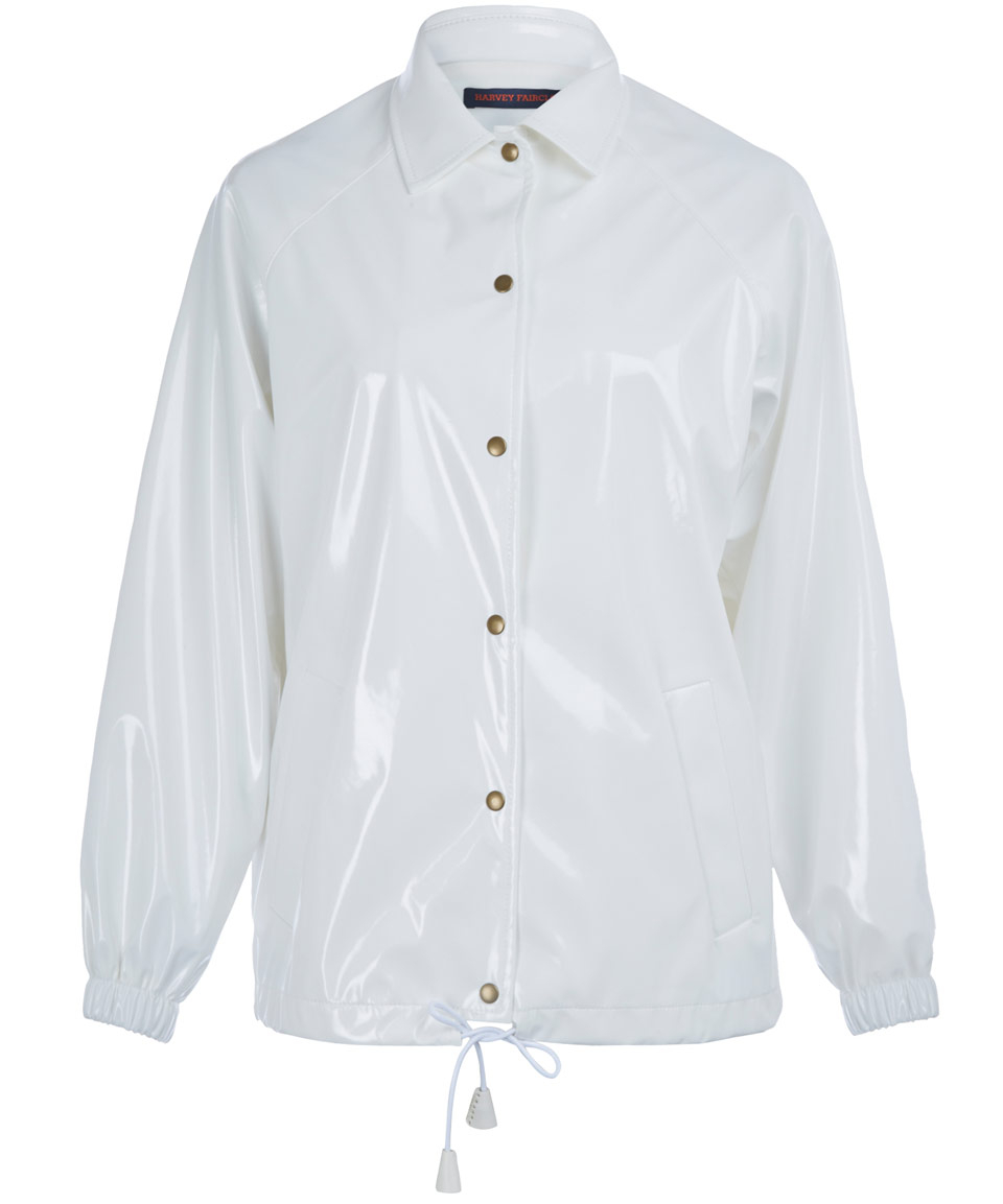 Harvey faircloth White Collar Raglan Rain Jacket in White | Lyst