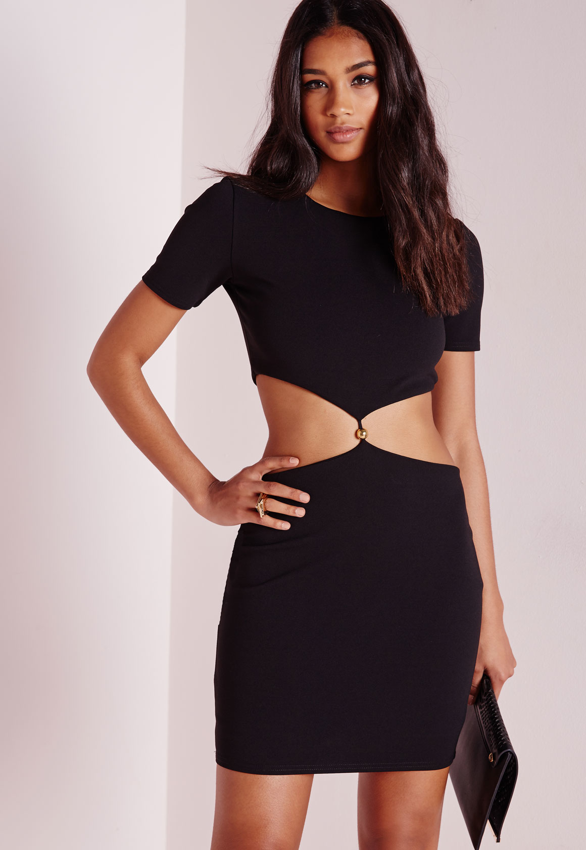 Missguided Short Sleeve Cut Out Waist Bodycon Dress Black in Black ...