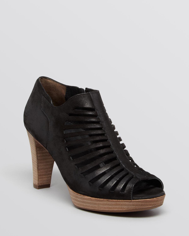 Paul Green Peep Toe Platform Booties - Tasha in Black