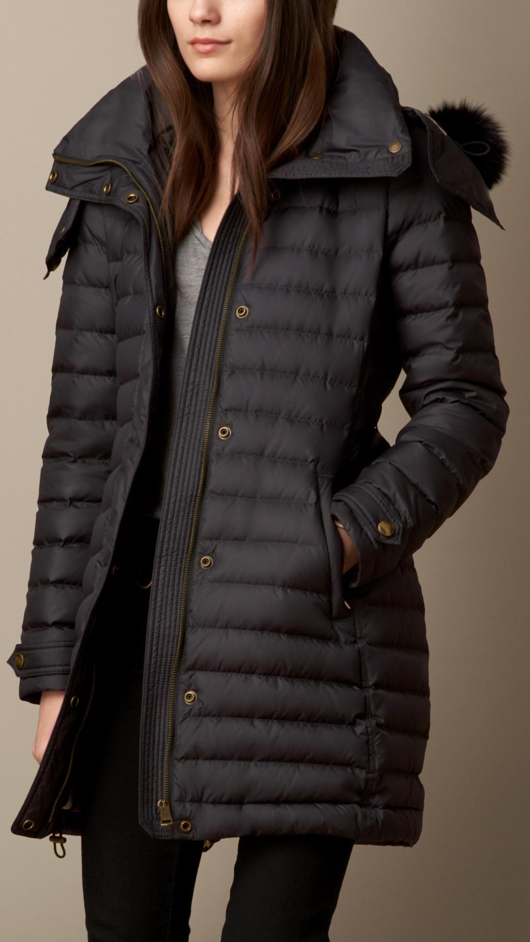 Burberry Fur Trim Down-Filled Puffer Coat in Black | Lyst