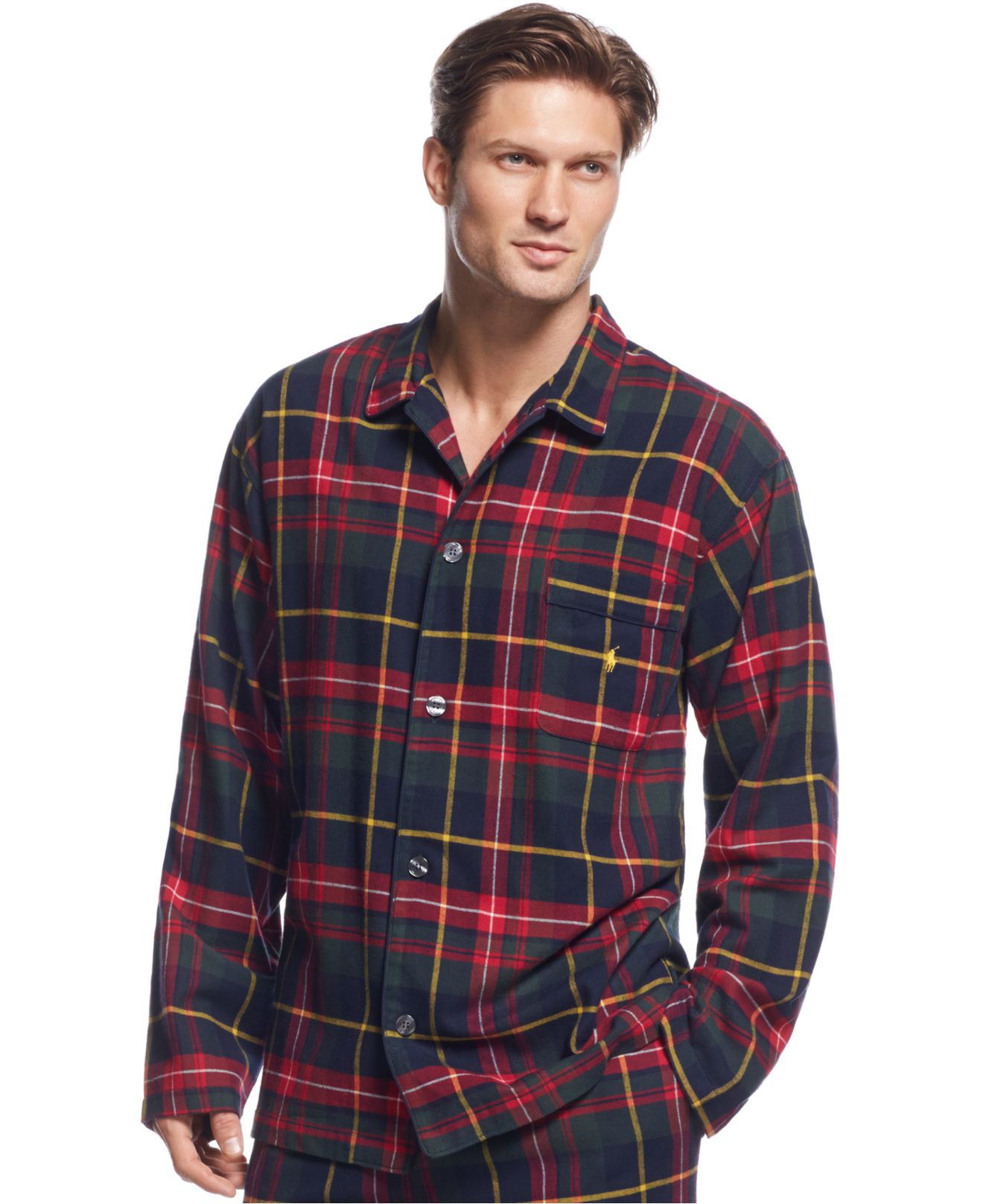 These soft and comfortable flannel pajamas have a classic notched collar, button-front top and patch pocket. The easy-fitting bottoms have an elasticized drawstring waist and button fly. Cotton/5(98).