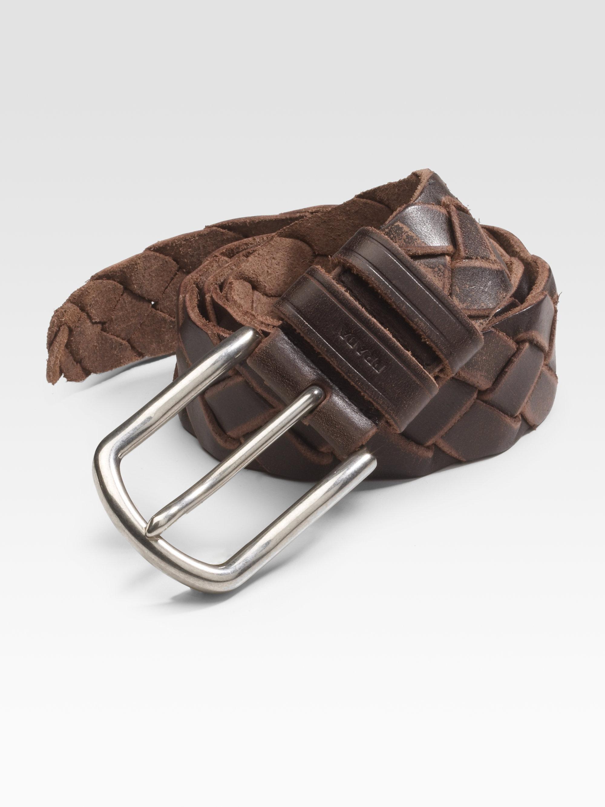 Prada Cuoio Braided Leather Belt in Brown for Men | Lyst