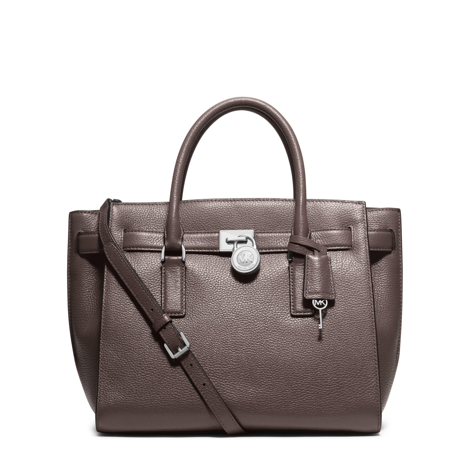 michael kors hamilton traveler large leather satchel in gray lyst. Black Bedroom Furniture Sets. Home Design Ideas