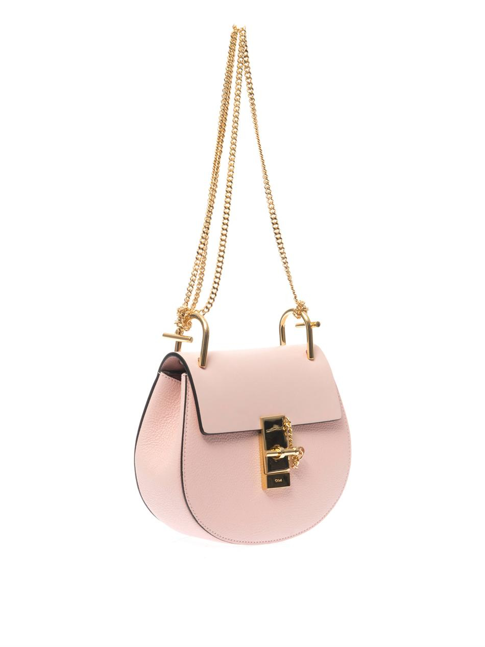 Chloé Drew Small Leather Shoulder Bag in Pink
