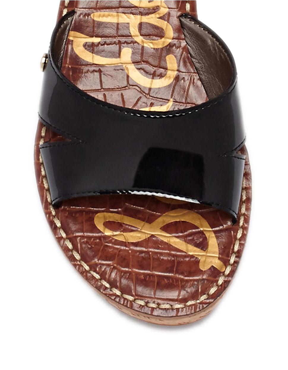 0ad6e60110ea Lyst - Sam Edelman Reid Patent Leather Wedge Sandals in Black
