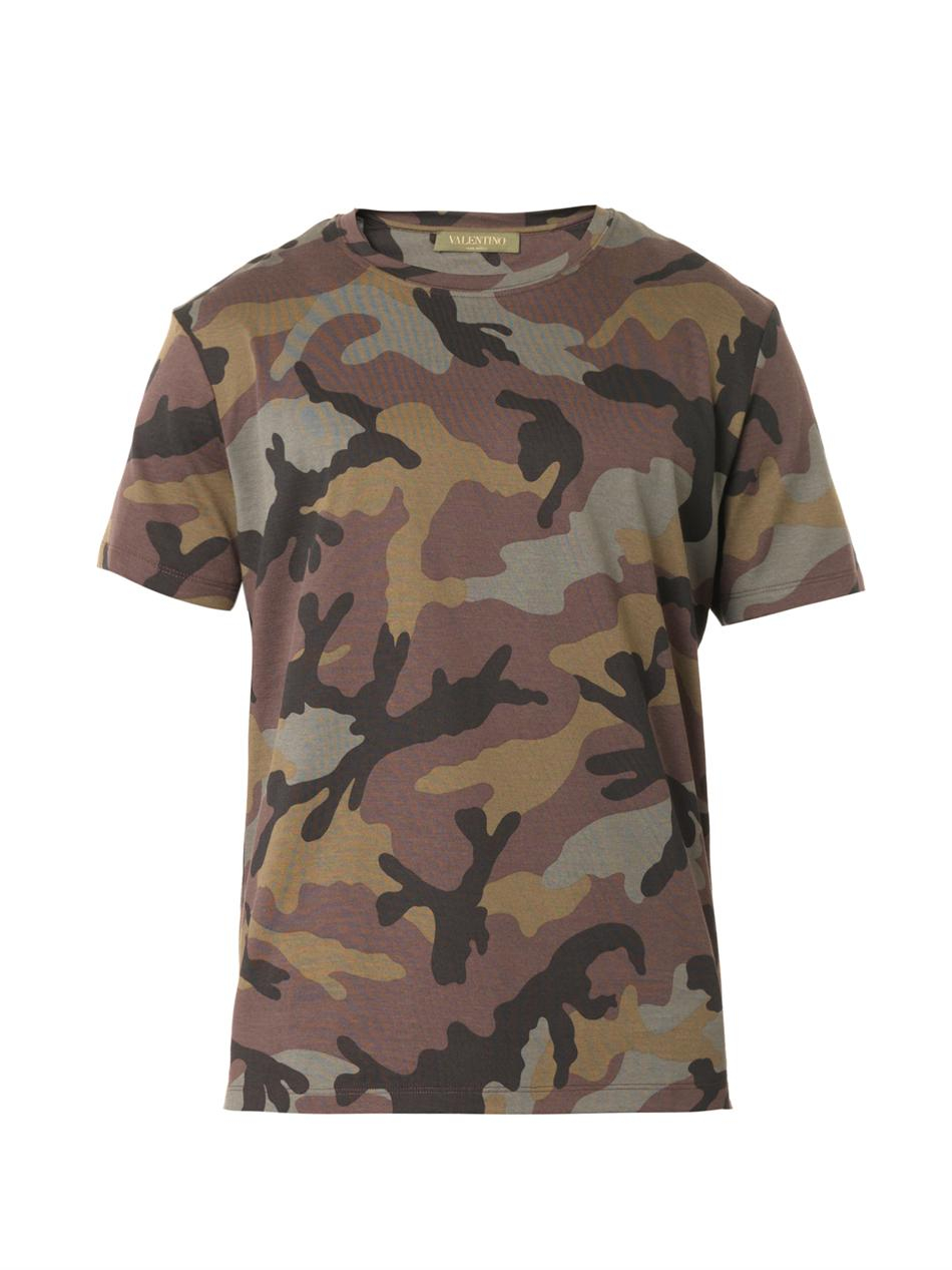 Valentino Camouflage Print T Shirt In Green For Men Lyst
