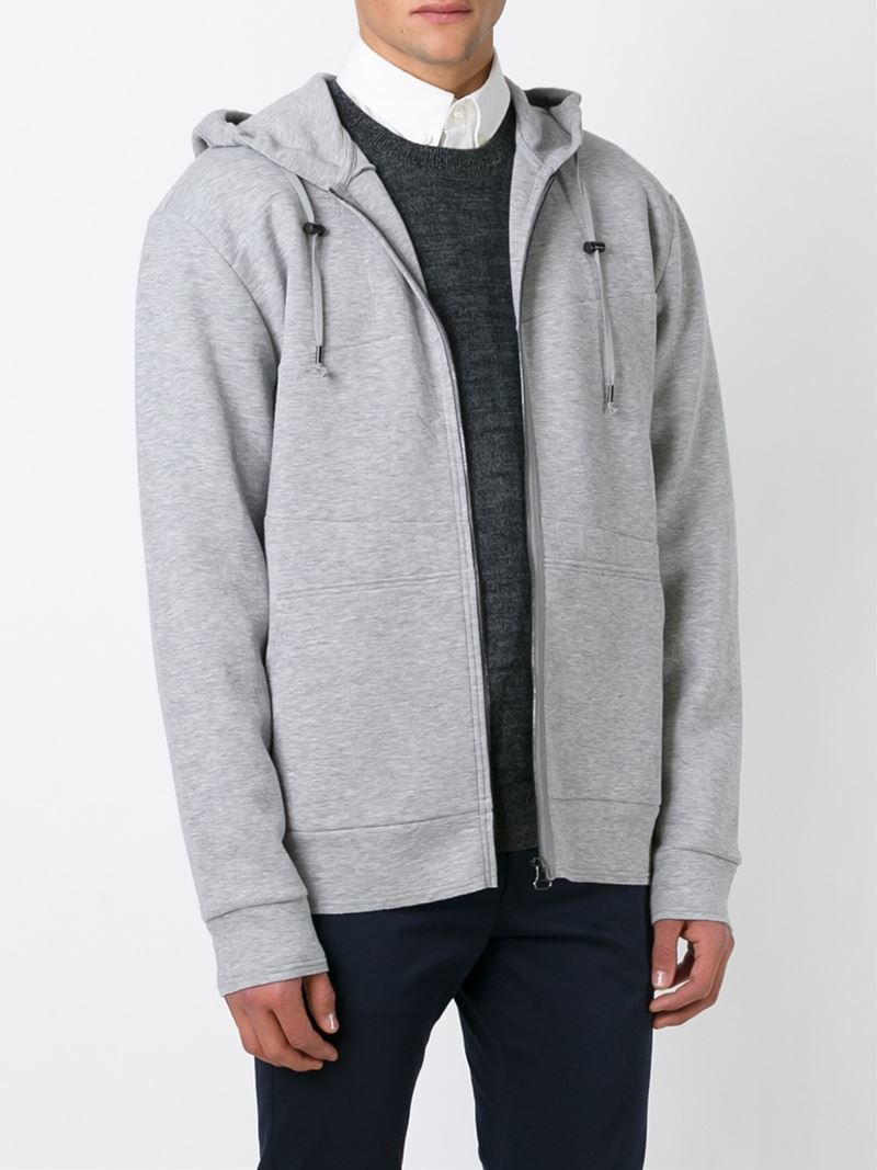 Lanvin Zipped Up Hoodie in Grey (Grey) for Men