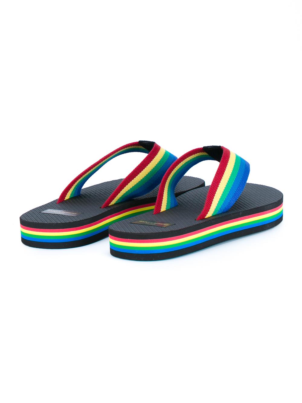 Saint Laurent Rainbow Flip-Flops In Black - Lyst-6617
