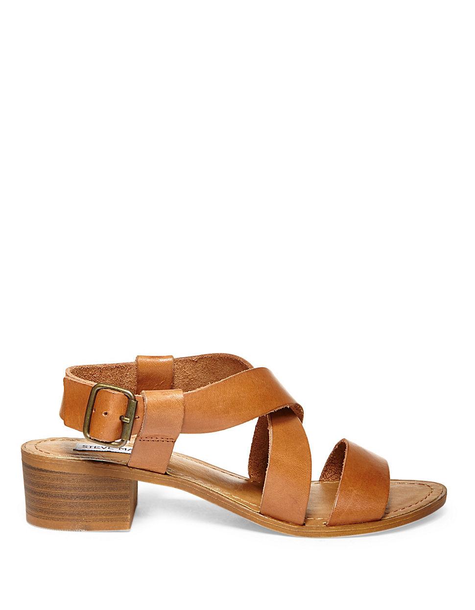 Steve Madden Lorelle Crisscross Leather Sandals In Brown