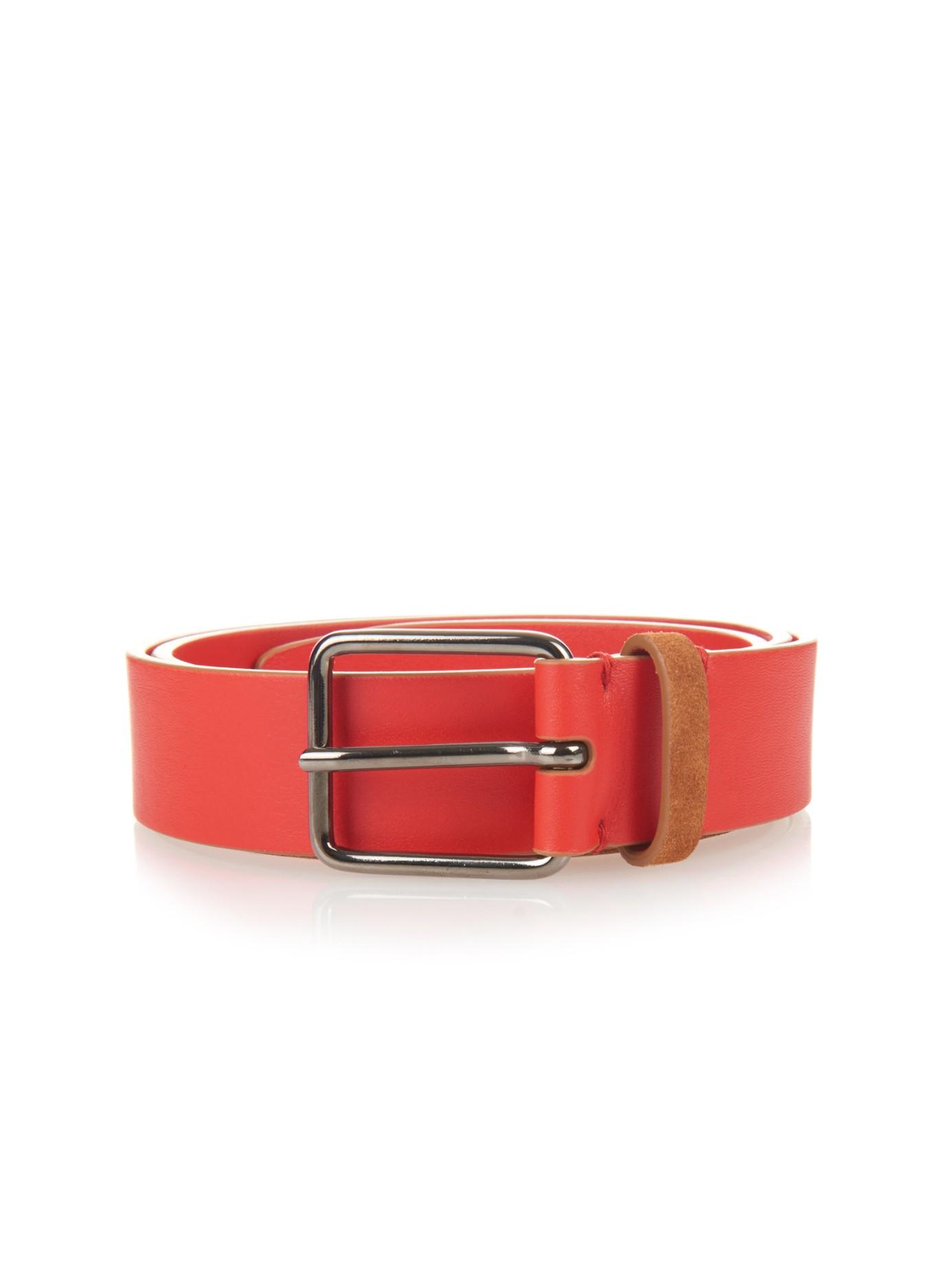 jil sander bi colour calf leather belt in brown lyst