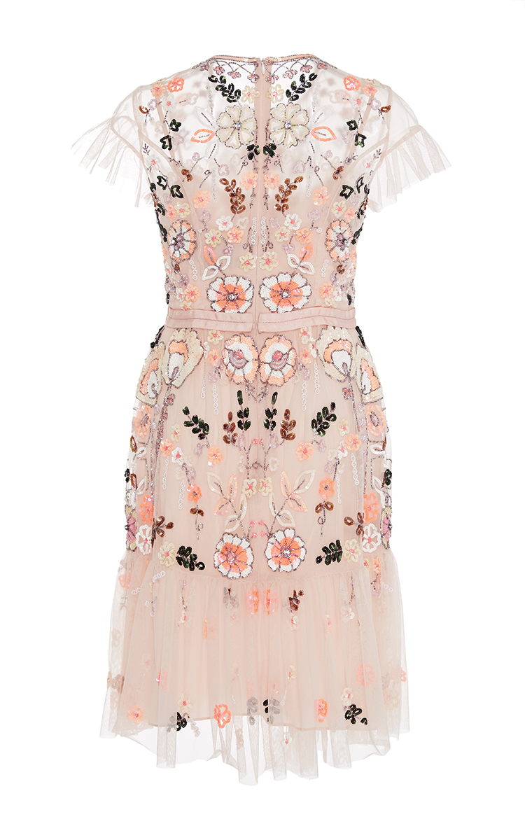 Lyst Needle Amp Thread Floral Embroidered Tiered Dress In Pink