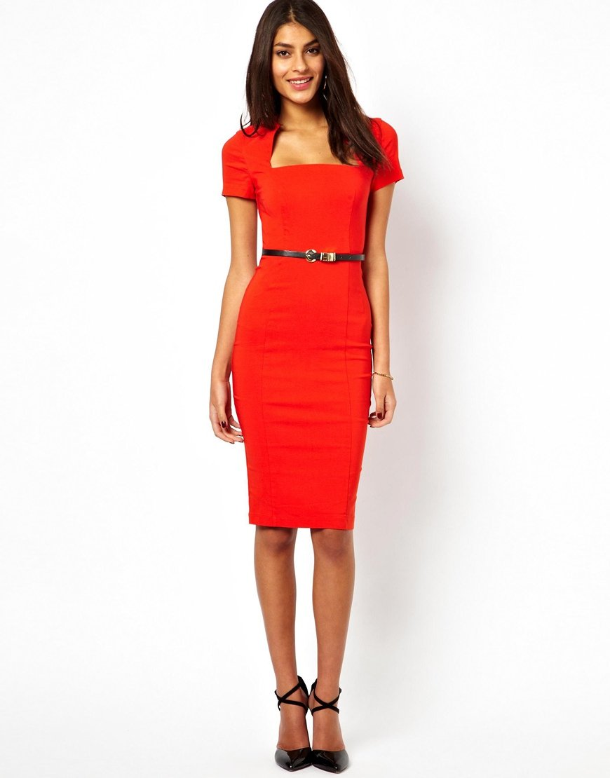 Dress Square Double Thai 100 Viscose: Asos Pencil Dress With Square Neck In Green
