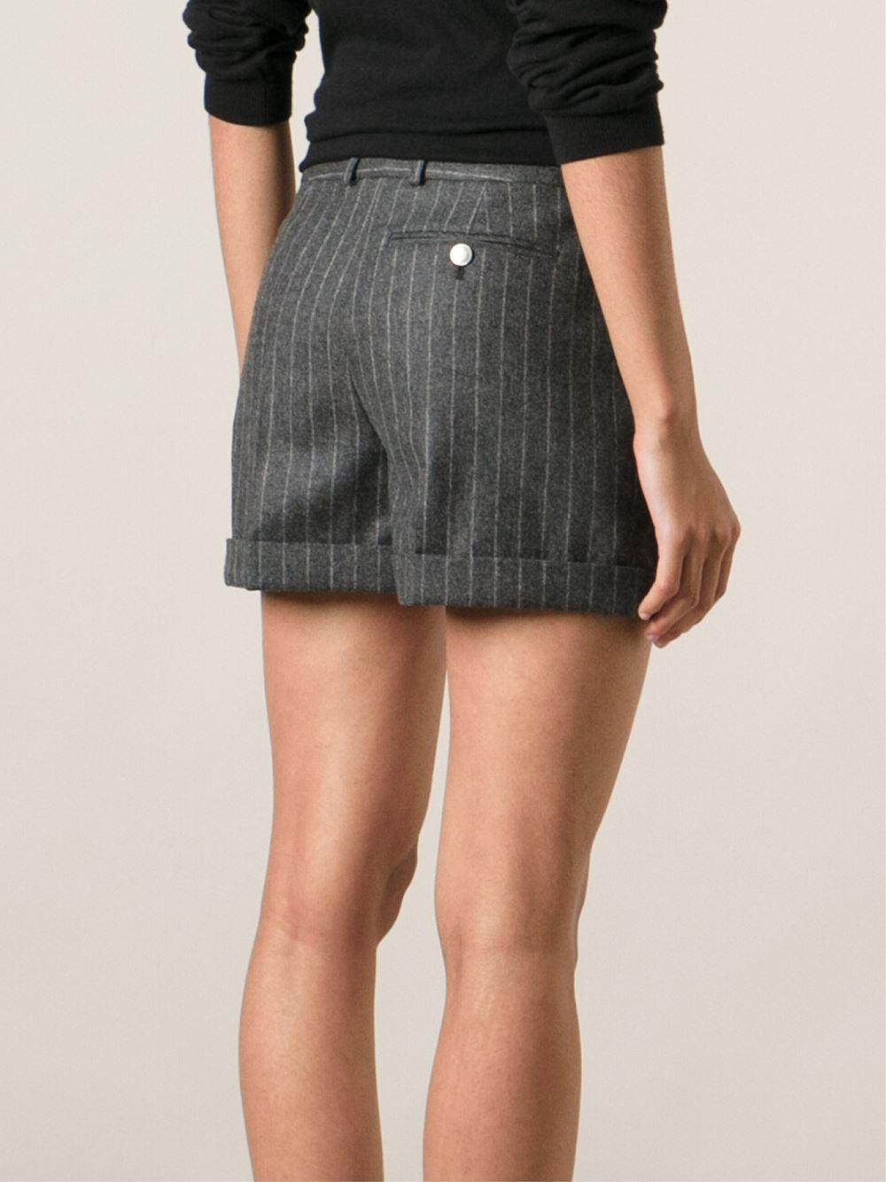 Alexander Mcqueen Pinstripe Shorts In Gray  Lyst-2940