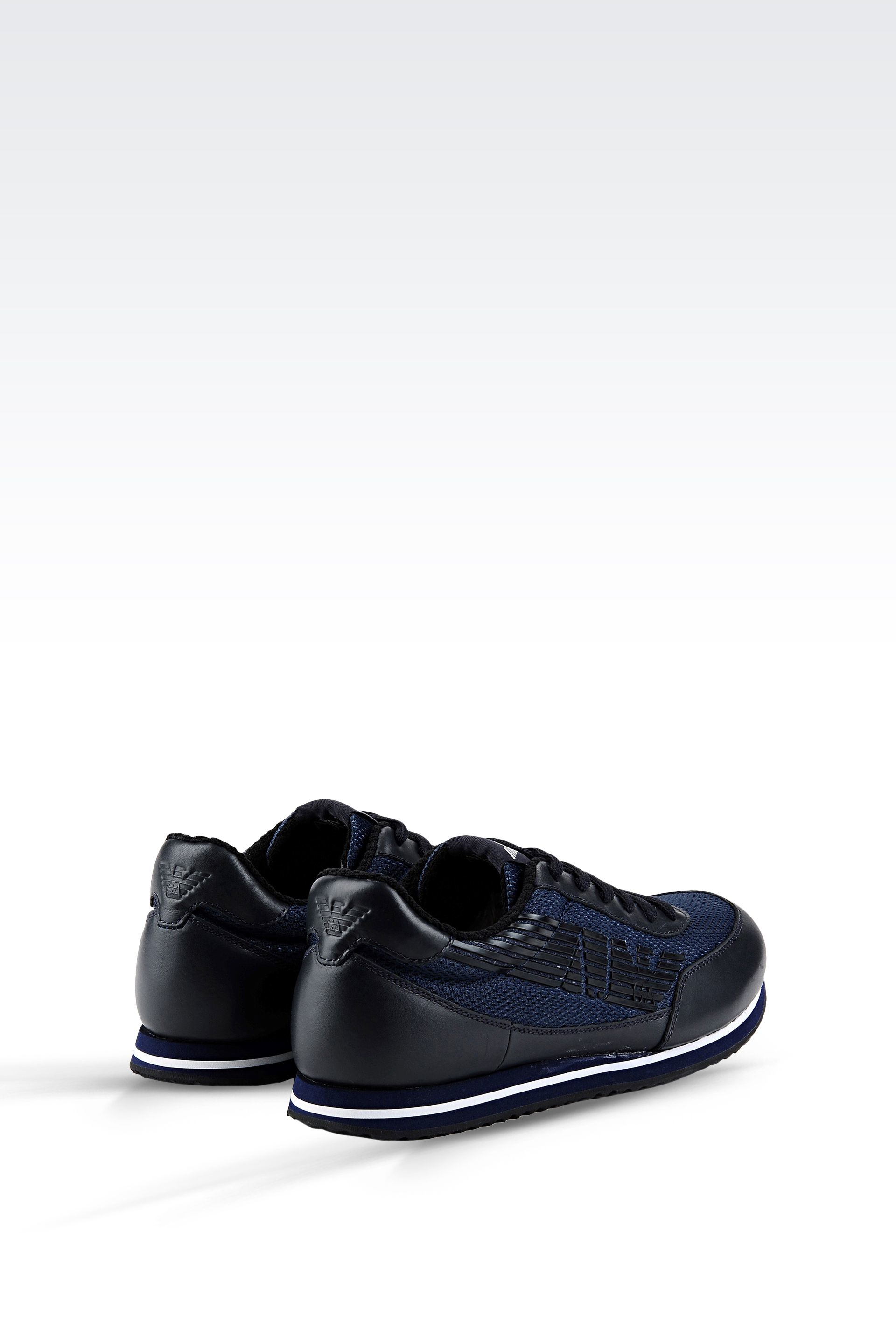 armani jeans sneaker in leather and technical fabric with logo in blue for men dark blue lyst. Black Bedroom Furniture Sets. Home Design Ideas