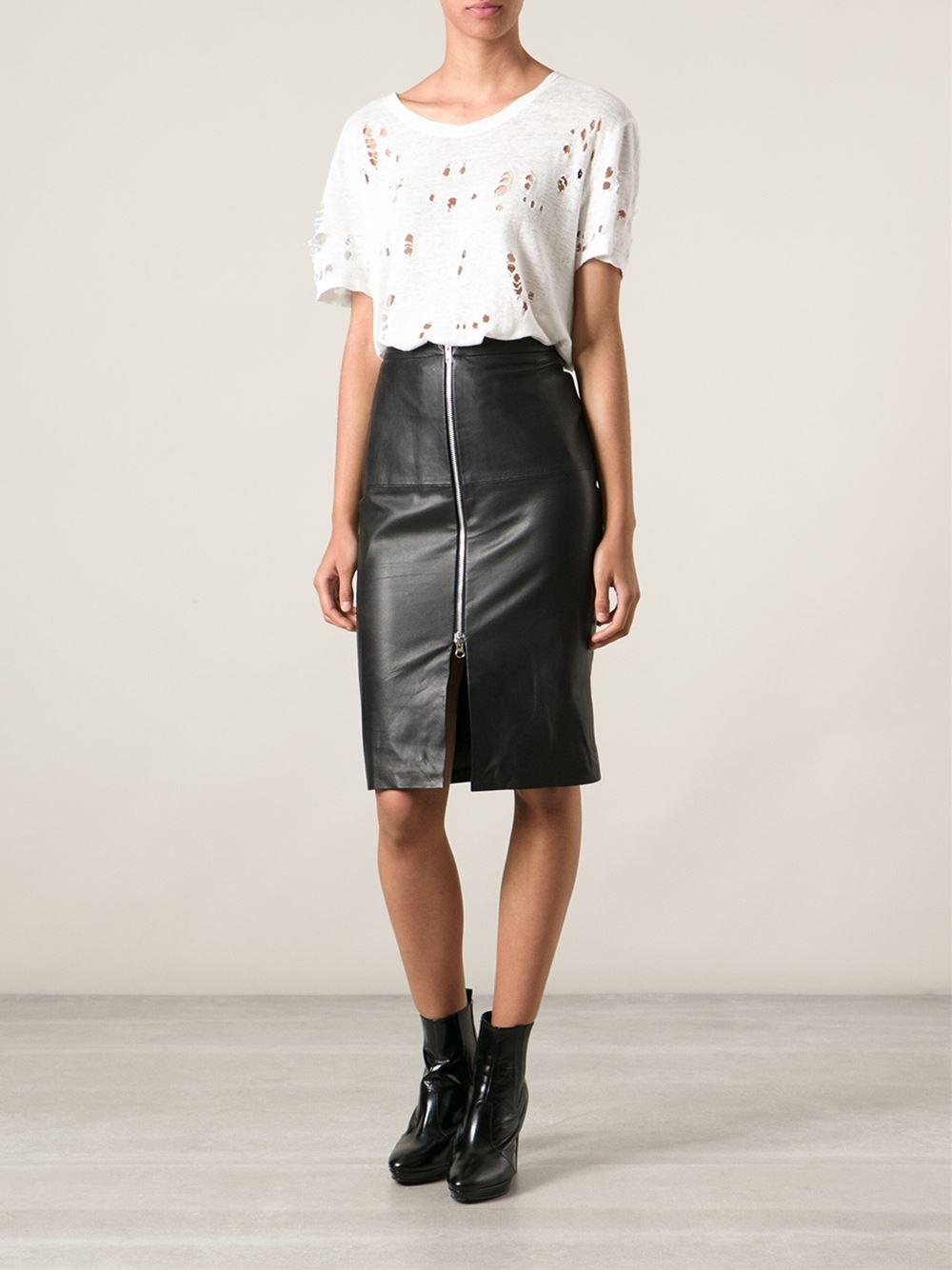 muubaa leather pencil skirt in black lyst