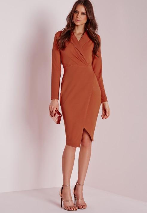 Lyst Missguided Wrap Over Midi Dress Rust In Orange