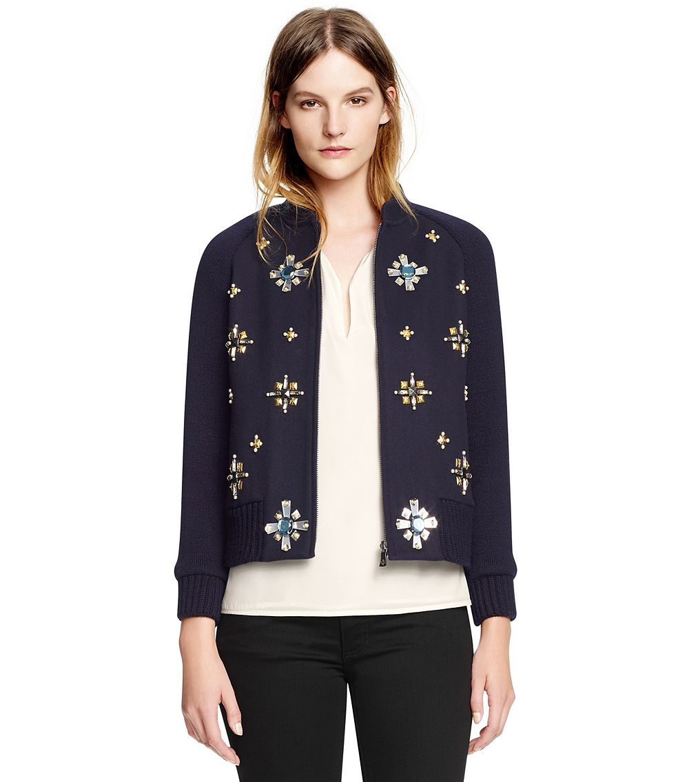 Lyst tory burch gem embellished bomber jacket in blue for Tory burch fashion island