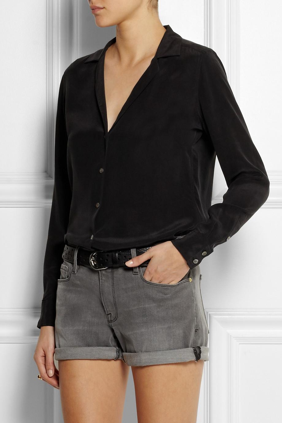 Lyst equipment adalyn washed silk shirt in black for Equipment black silk shirt
