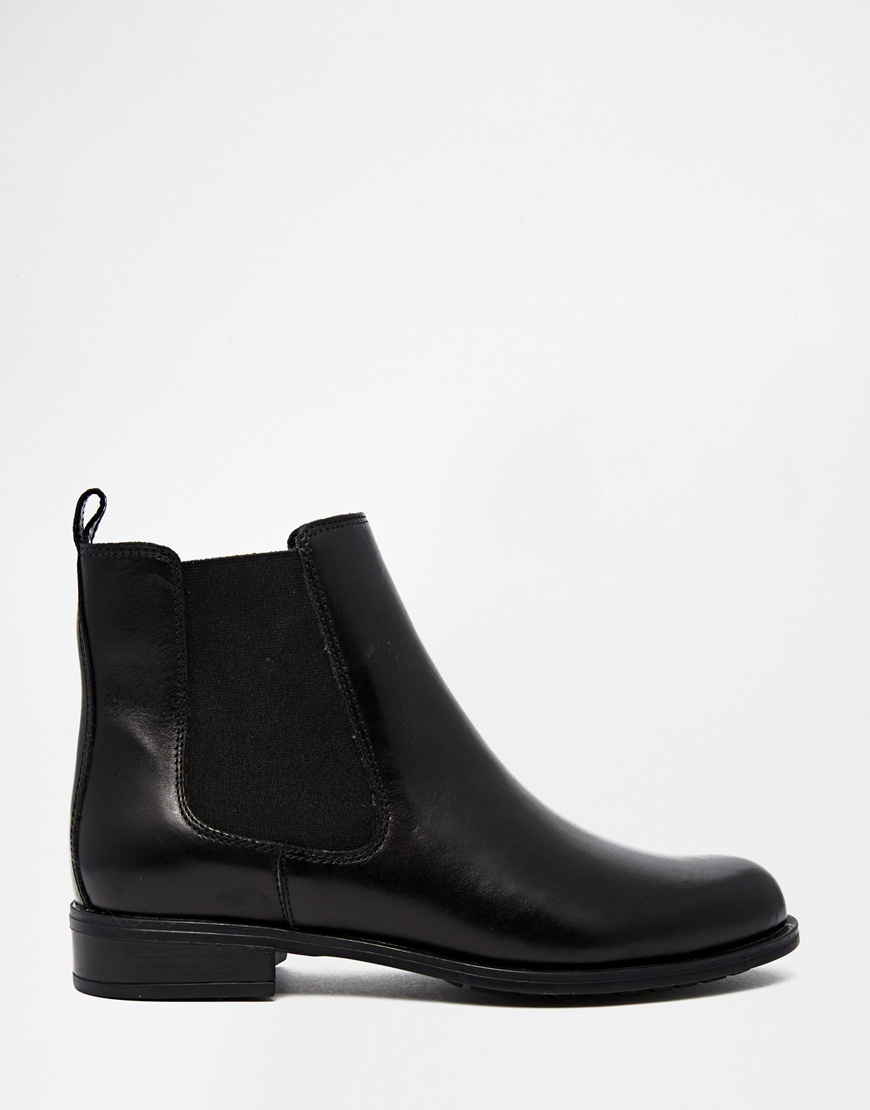 Dune Parry Black Leather Chelsea Flat Ankle Boots in Black | Lyst