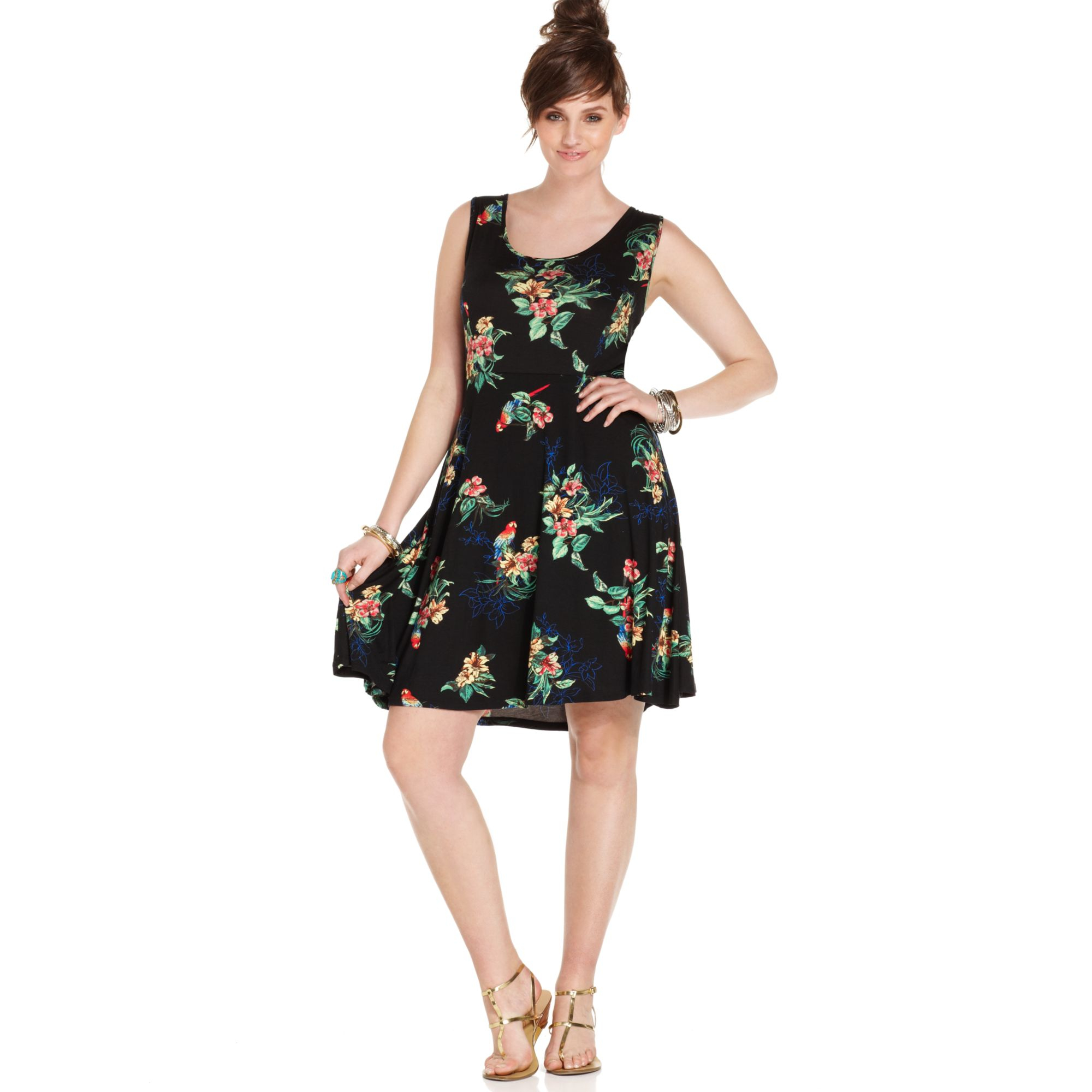 American Rag Plus Size Sleeveless Floral Print Aline Dress ...