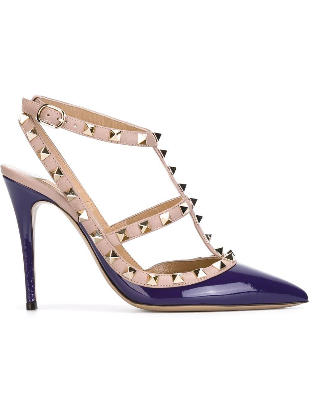 valentino 39 rockstud 39 pumps in purple pink purple lyst. Black Bedroom Furniture Sets. Home Design Ideas
