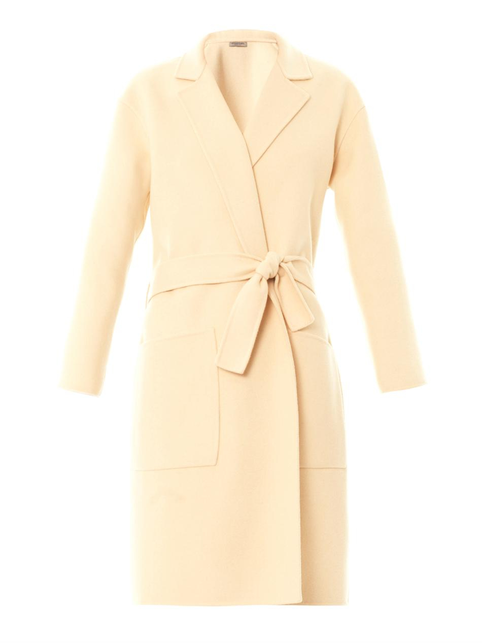 Bottega veneta Doublefaced Cashmere Coat in Natural | Lyst