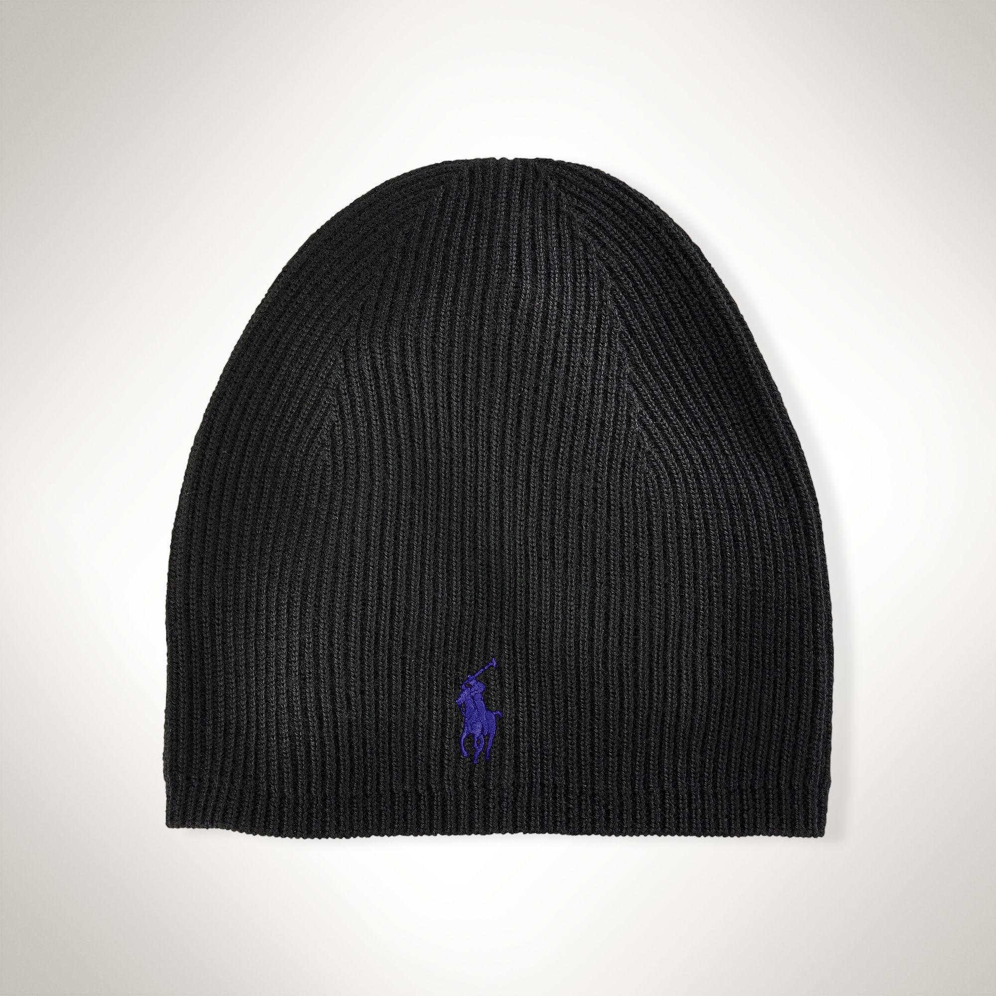 polo ralph lauren merino wool skull cap in black for men. Black Bedroom Furniture Sets. Home Design Ideas