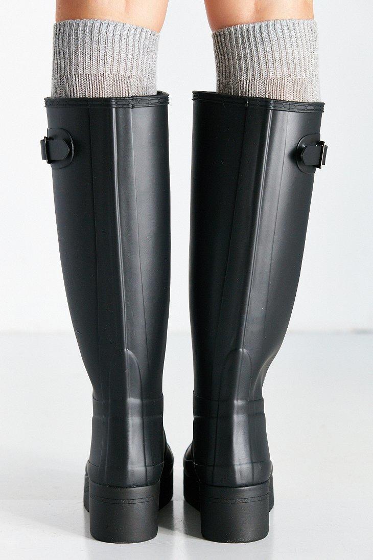Hunter Original Low Wedge Rain Boot in Black | Lyst