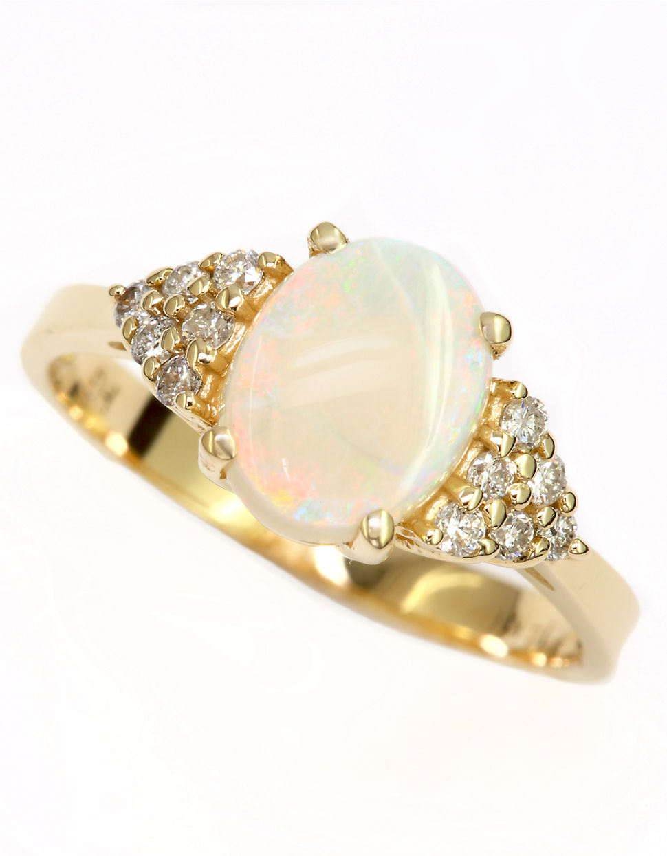 effy 14kt yellow gold opal and ring in metallic