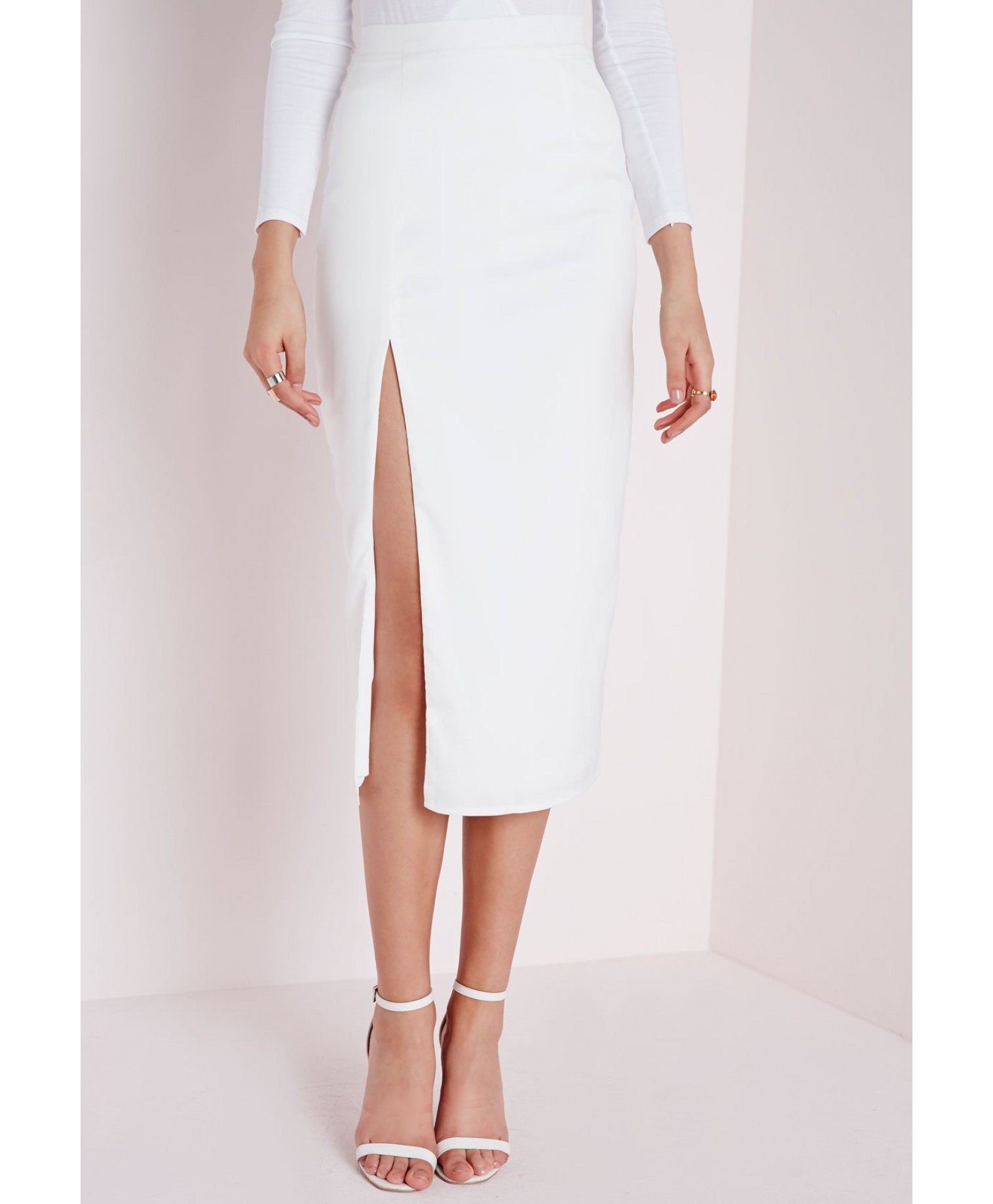 Missguided Thigh Split Crepe Longline Midi Skirt White in White | Lyst
