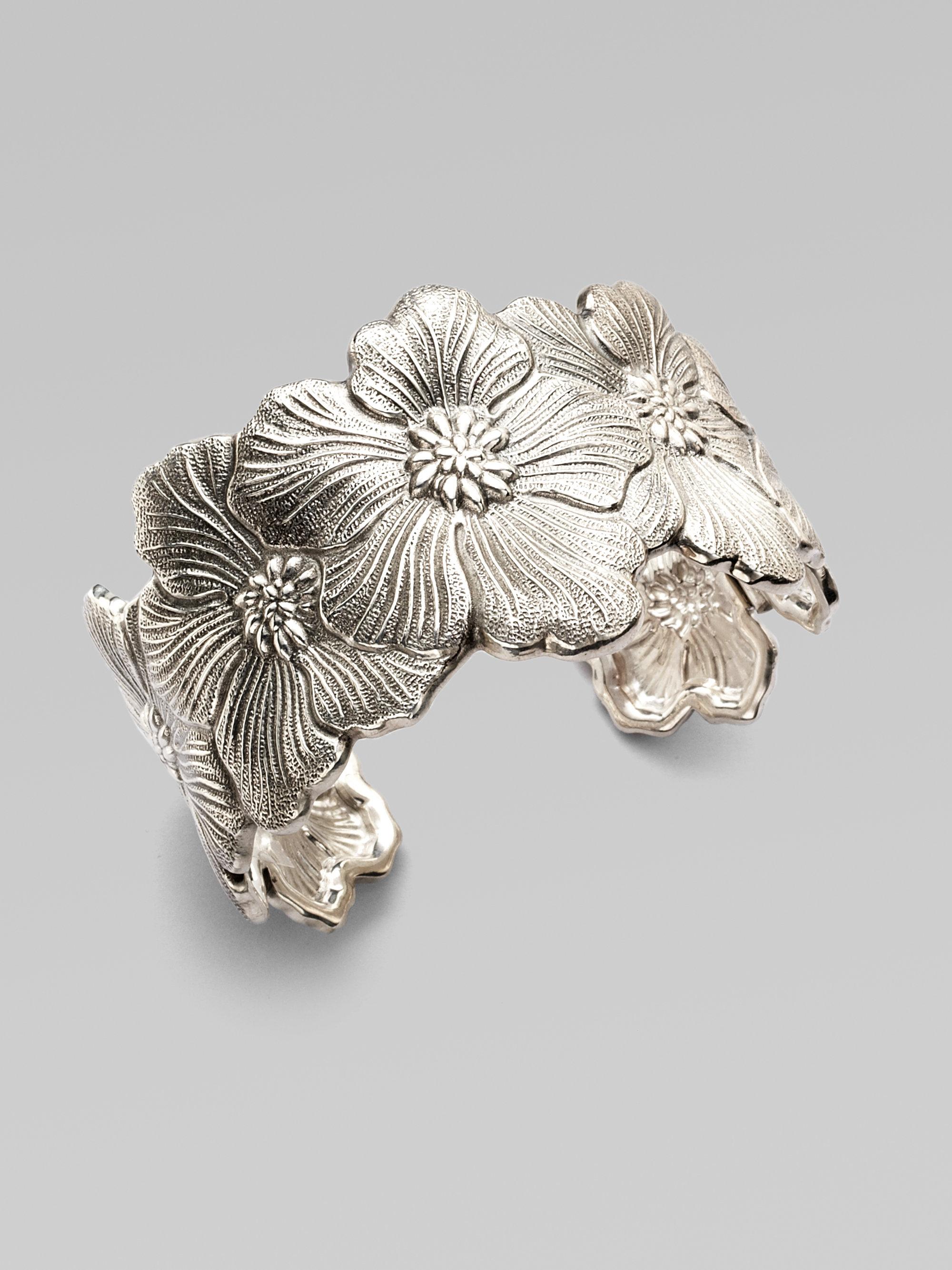 Buccellati Blossom Sterling Silver Flower Cuff Bracelet In