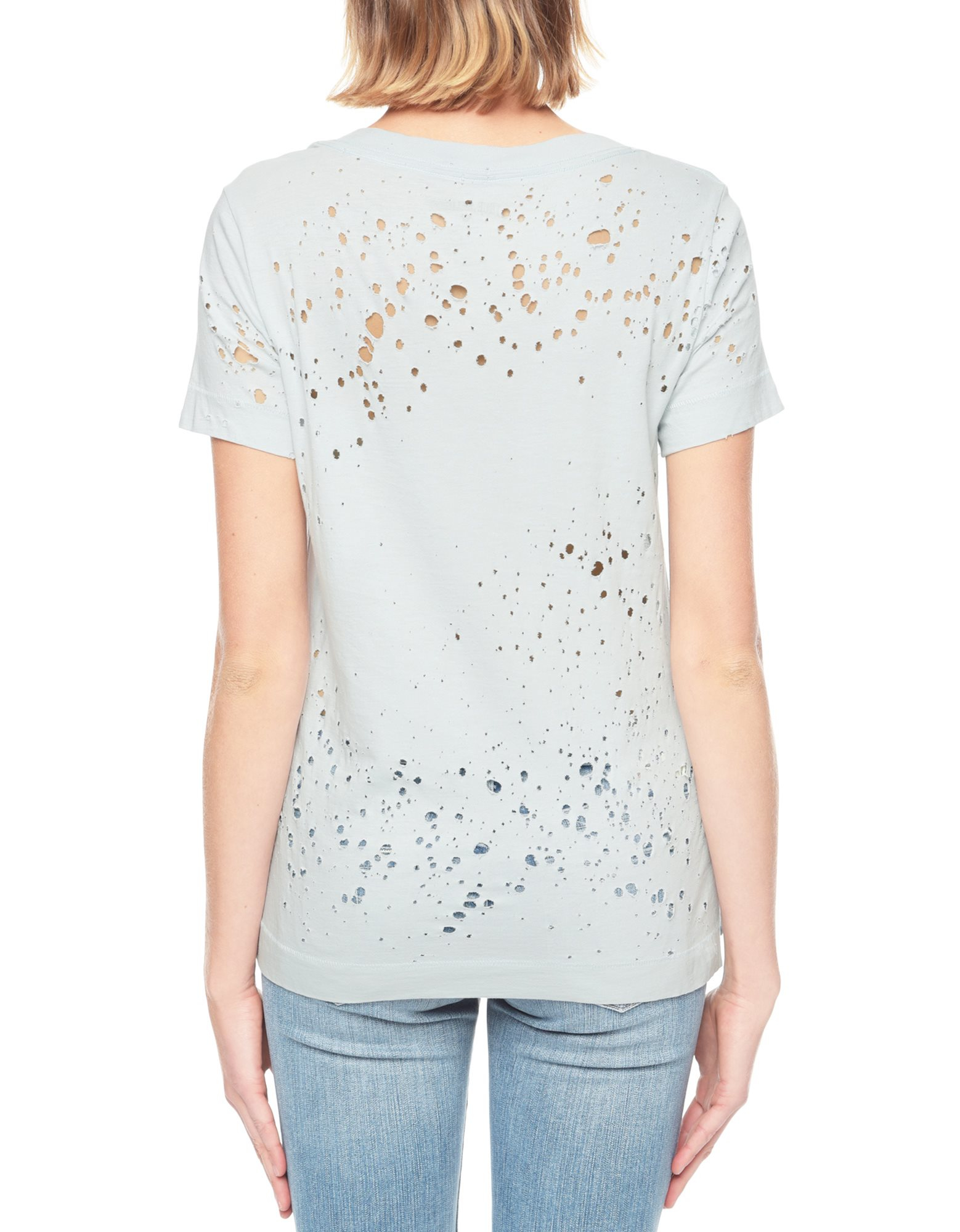 True religion distressed holes logo womens t shirt in gray for How to make a distressed shirt