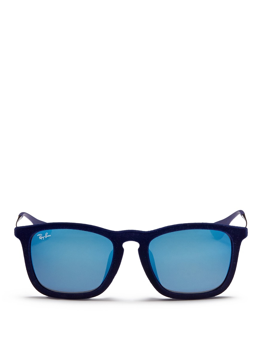 Ray Ban Wireframe Glasses : Ray-ban Chris Velvet Wire Rim Mirror Sunglasses in Blue ...