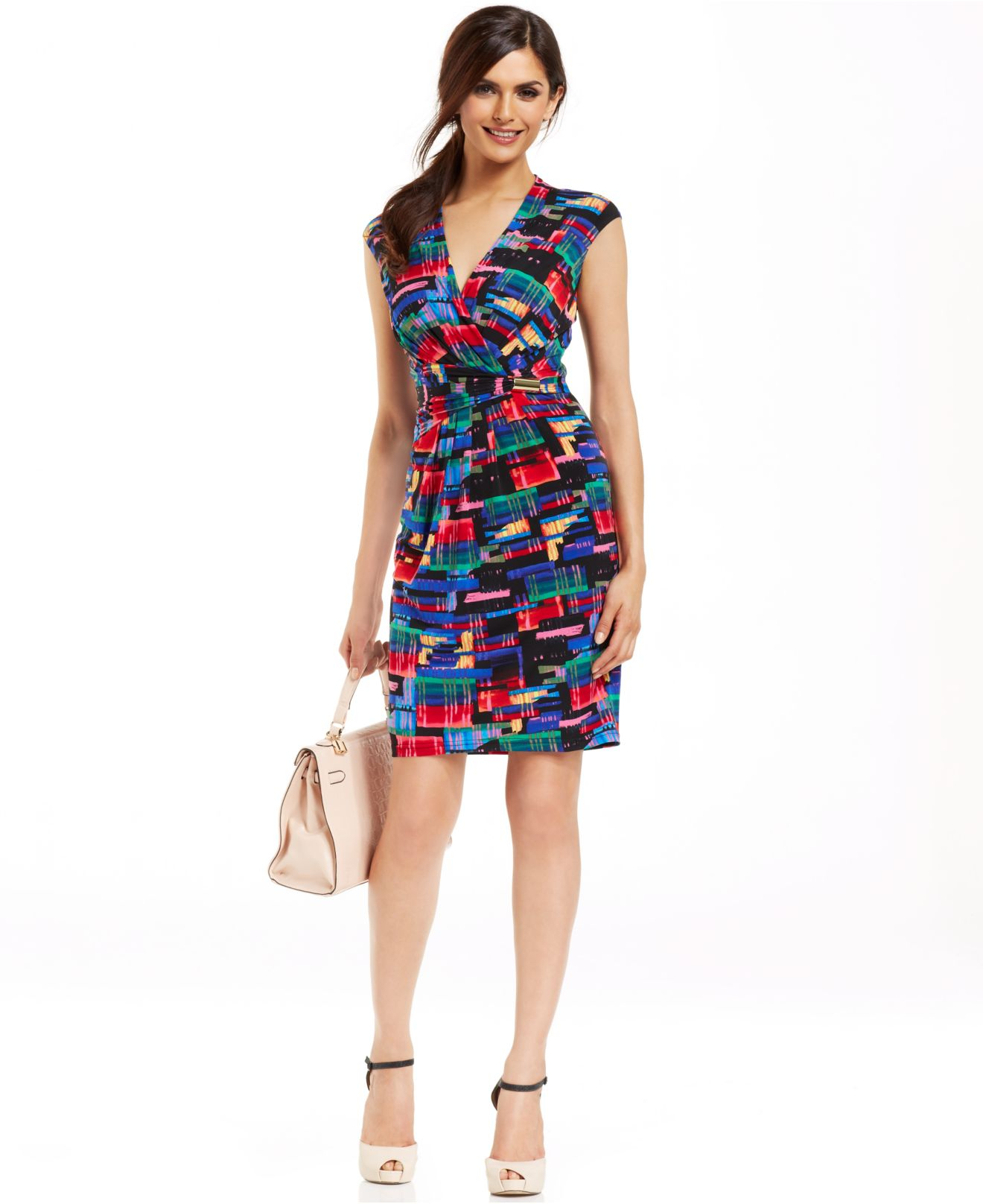 Lyst Ellen Tracy Abstract Print Faux Wrap Dress
