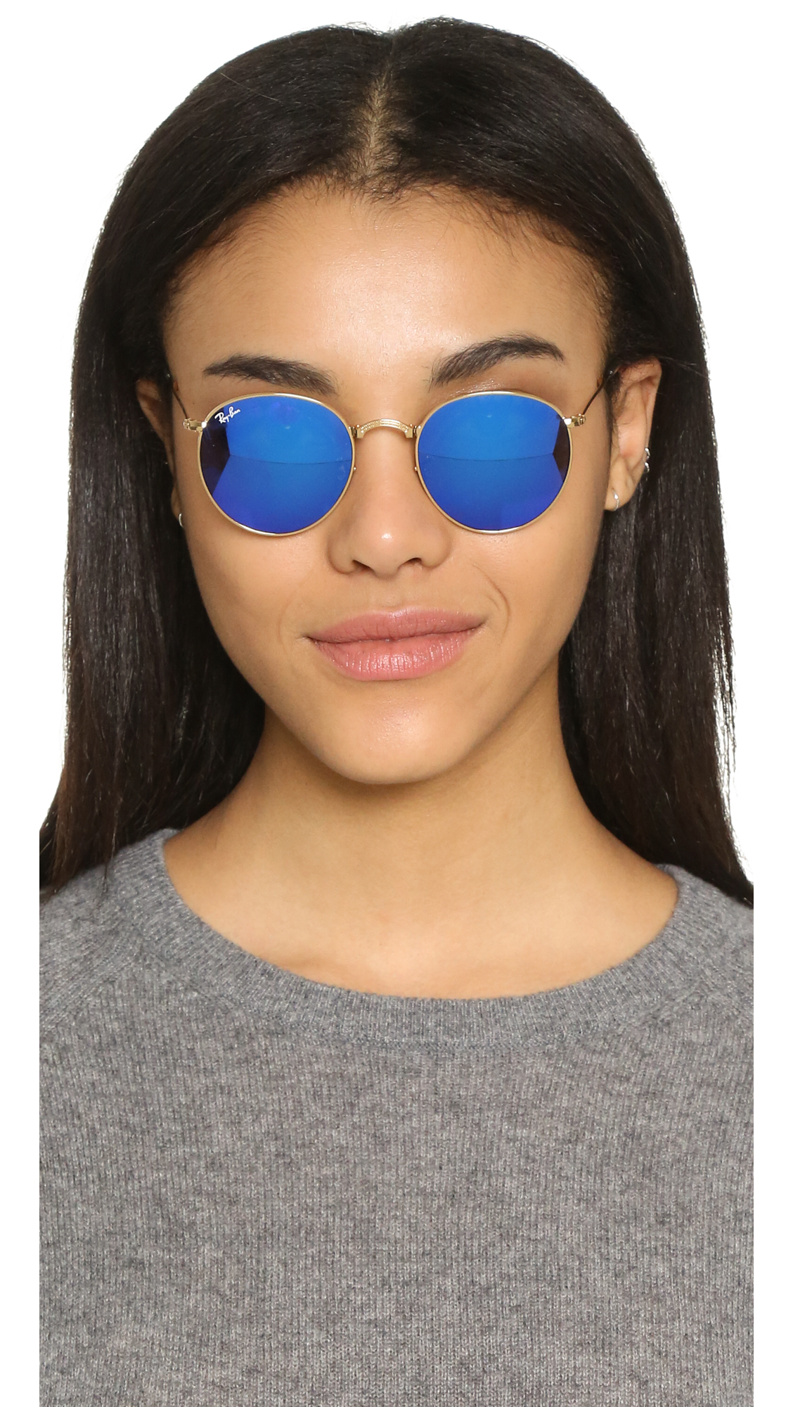 Ray-Ban Icons Mirrored Round Sunglasses in Metallic
