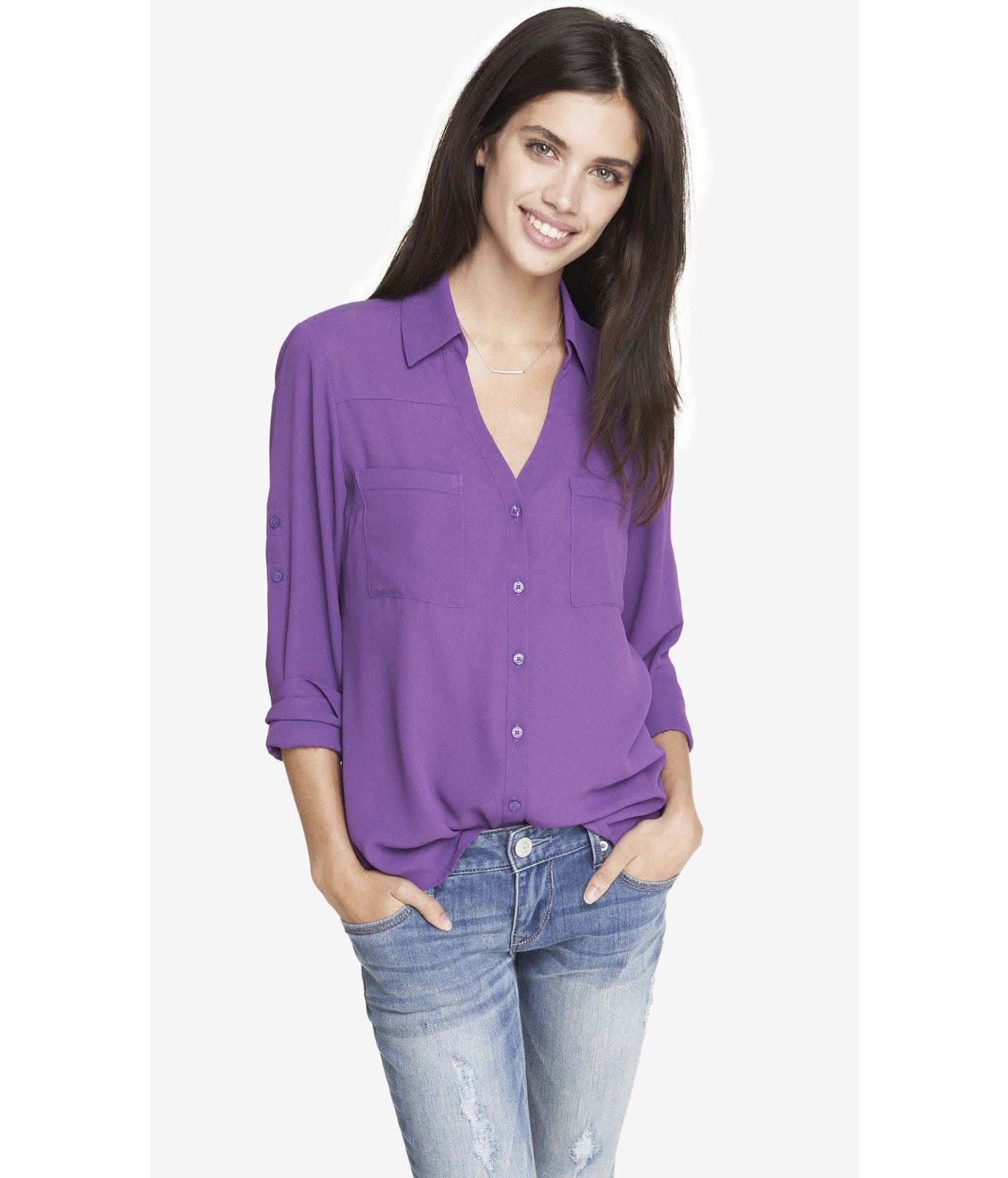 3889a283a75b0 Lyst - Express The Convertible Sleeve Portofino Shirt in Purple