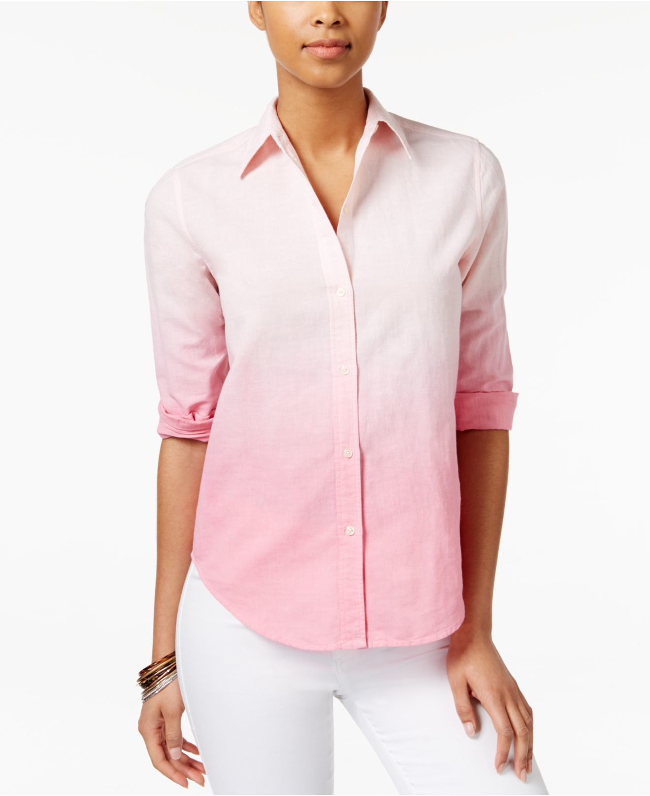 American Living Ombre Shirt Only At Macy 39 S In Pink Lyst