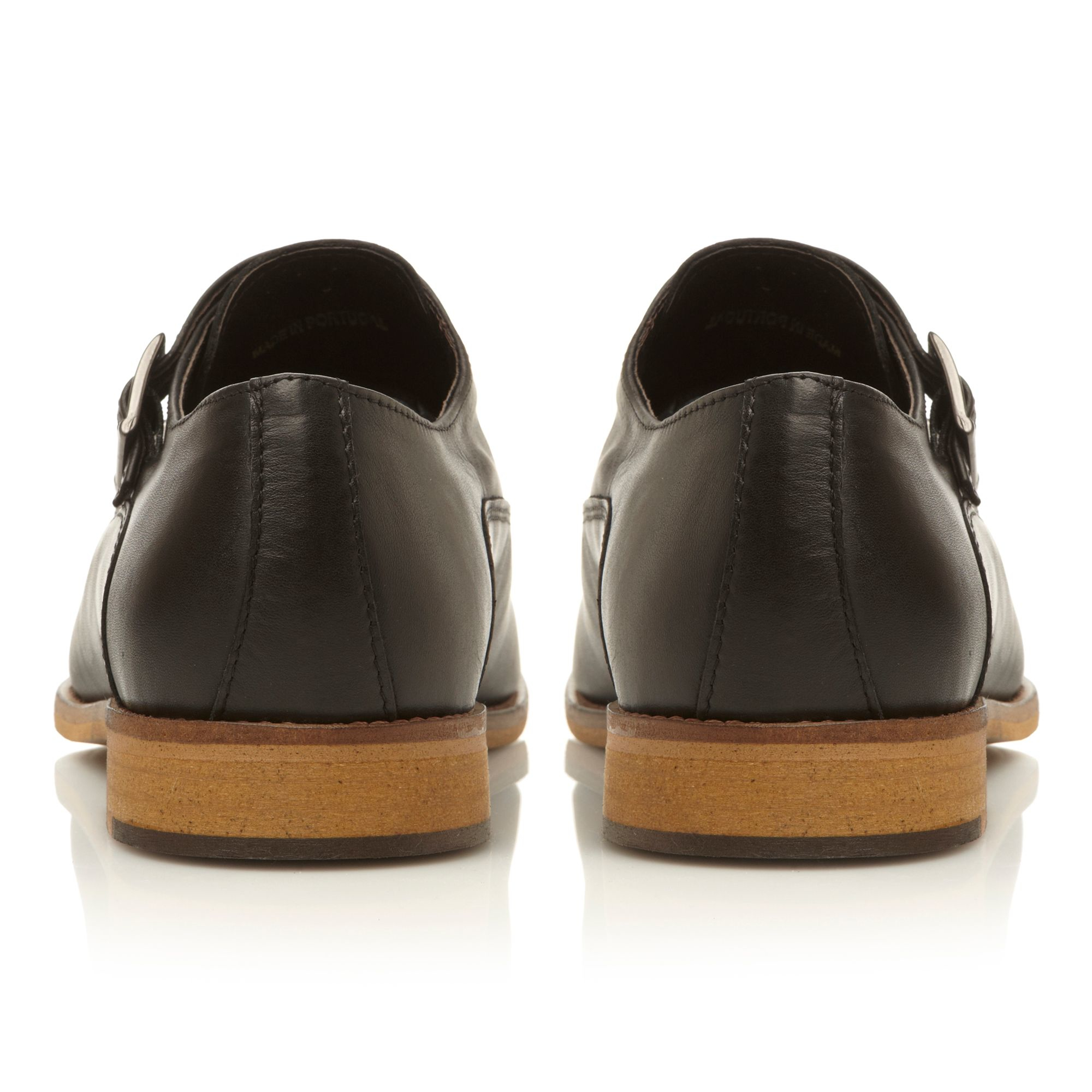 Bertie Abseil Double Buckle Leather Monk Shoe in Black Leather (Black) for Men