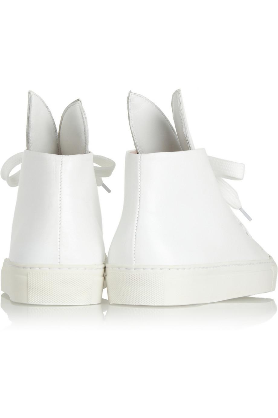 Minna Parikka Bunny Leather Hightop Sneakers in White