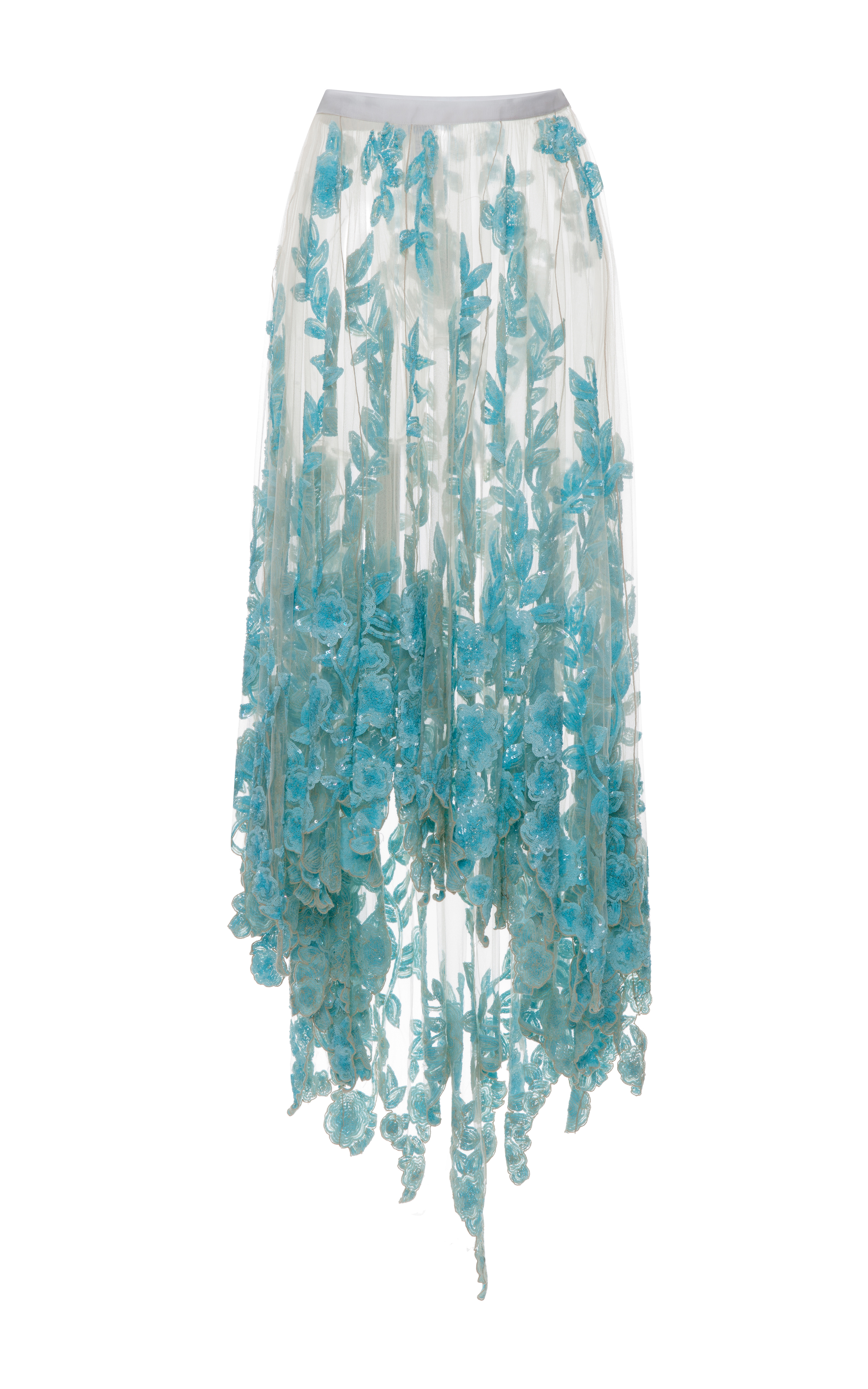 Lyst - Blumarine Long Tulle Skirt with Blue Sequined Flowers in White