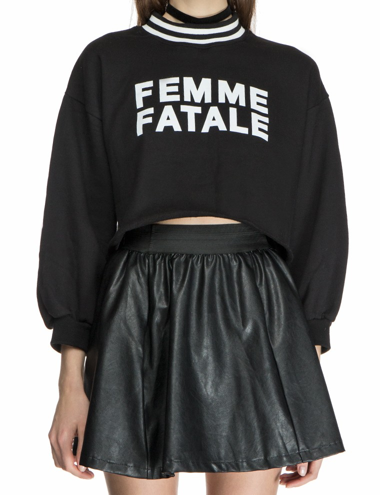lyst pixie market femme fatale crop sweatshirt in black. Black Bedroom Furniture Sets. Home Design Ideas